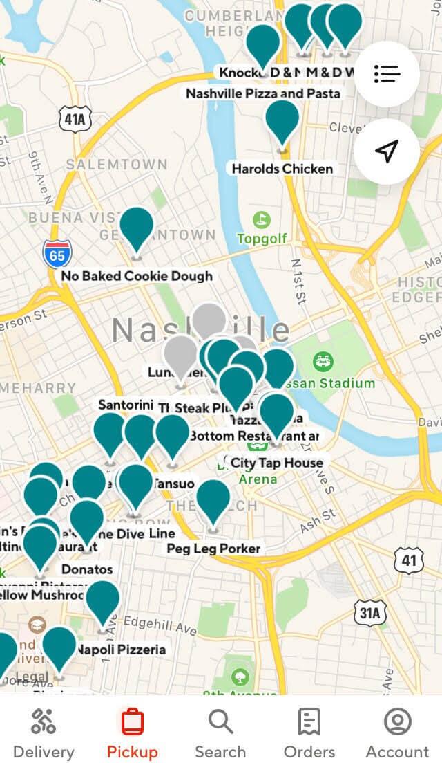 Comentarios de DoorDash: el mapa de la aplicación que muestra los restaurantes cercanos participantes