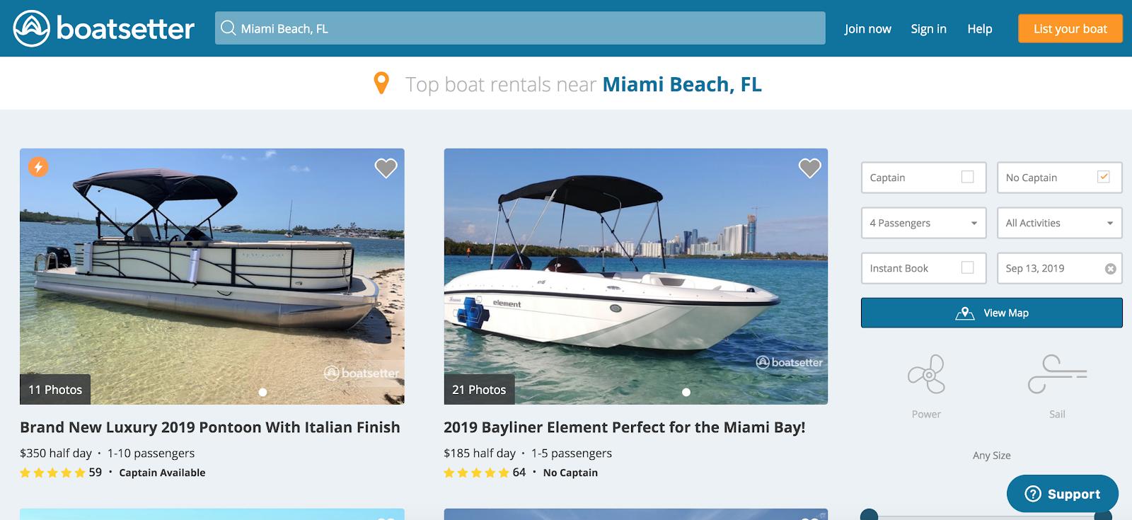 Resultados de búsqueda de Boatsetter en Miami