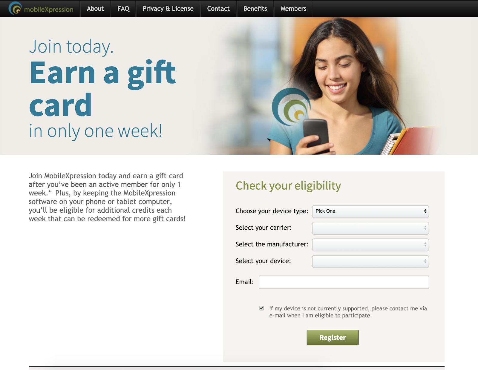 Captura de pantalla de la página de canje de tarjetas de regalo en MobileXpression