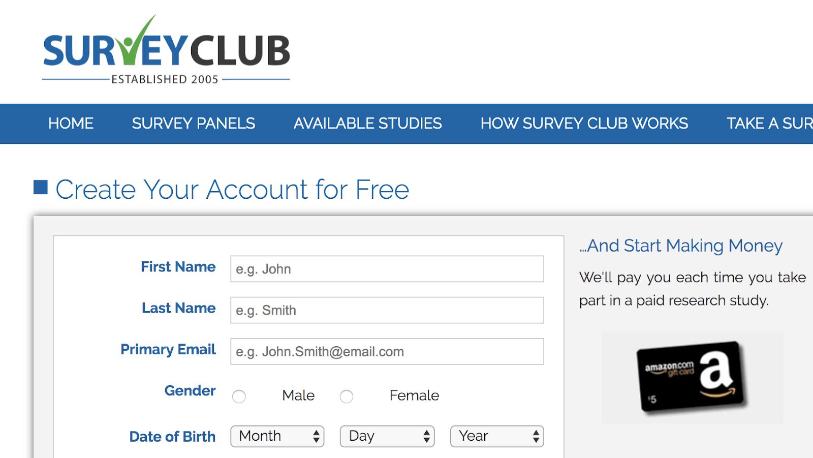 Regístrese en SurveyClub