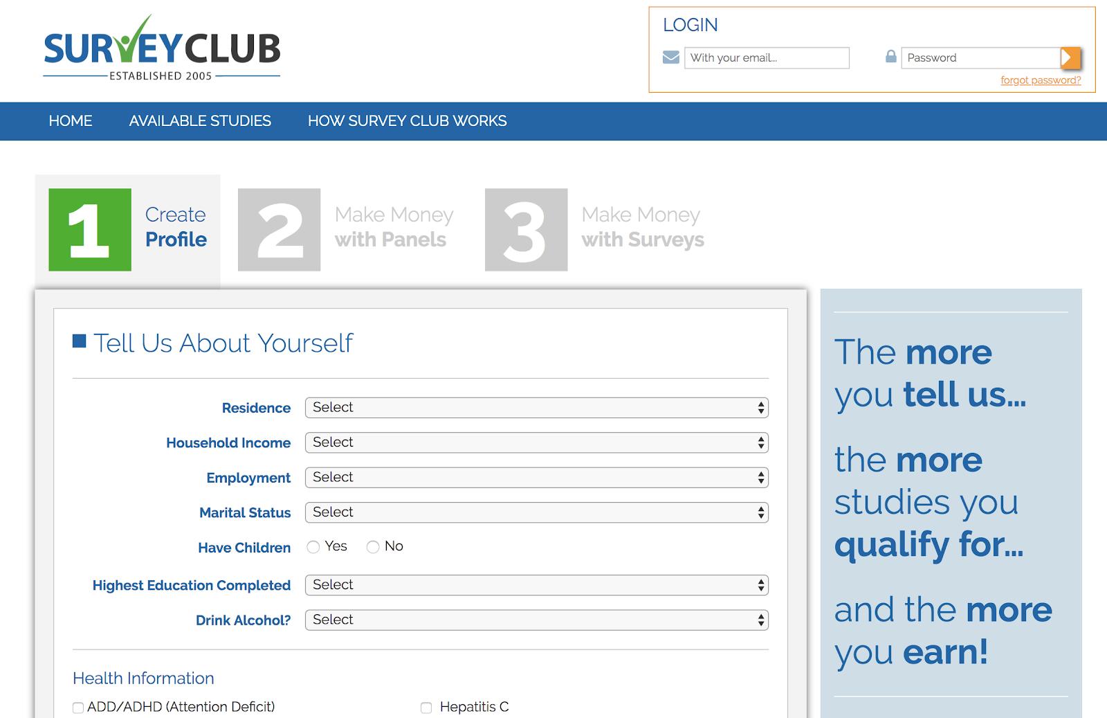 Crear perfil para SurveyClub