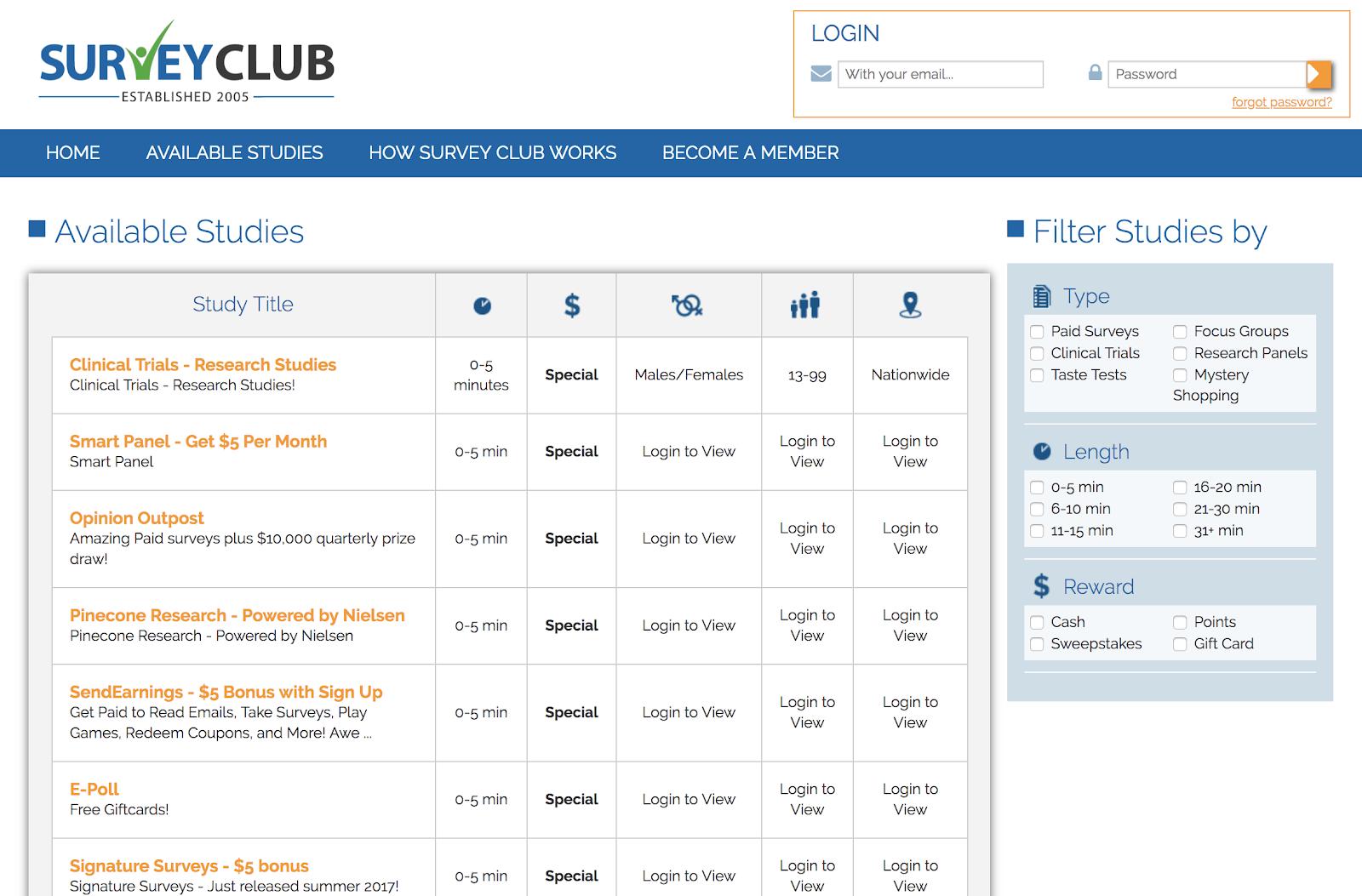 Estudios de filtro para SurveyClub