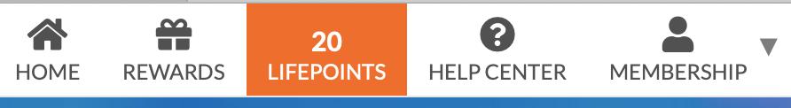 GlobalTestMarket: el menú LifePoints con puntuación de puntos