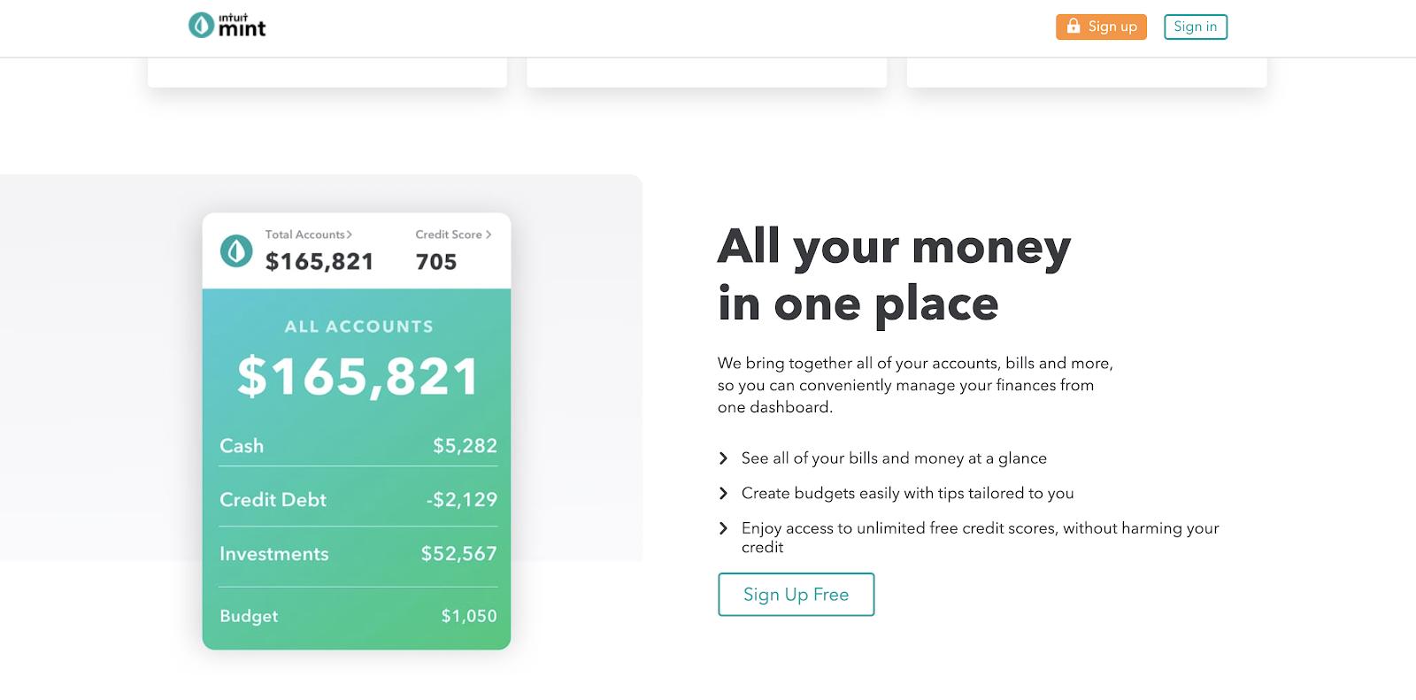 Capital personal frente a la menta: una página web que muestra las funciones móviles de Mint