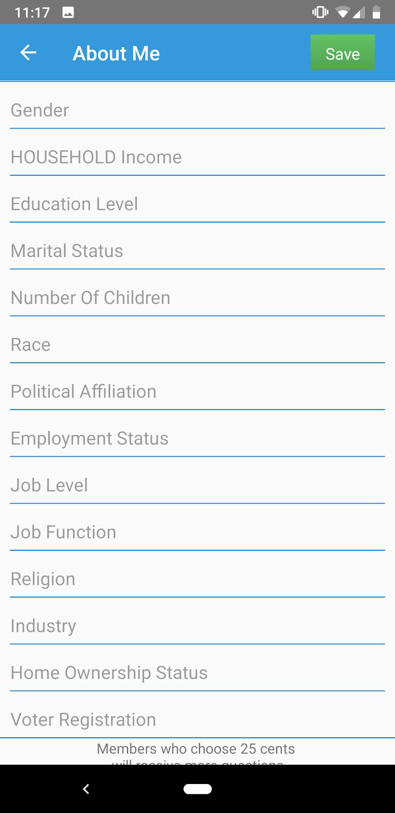 1T: la sección Acerca de mí de la aplicación