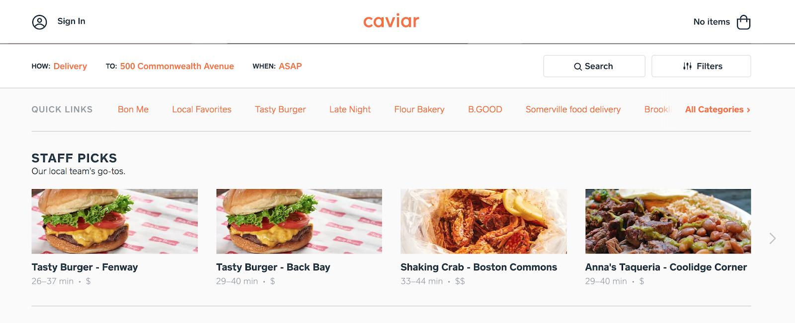 Trycaviar: la página de pedidos del sitio web