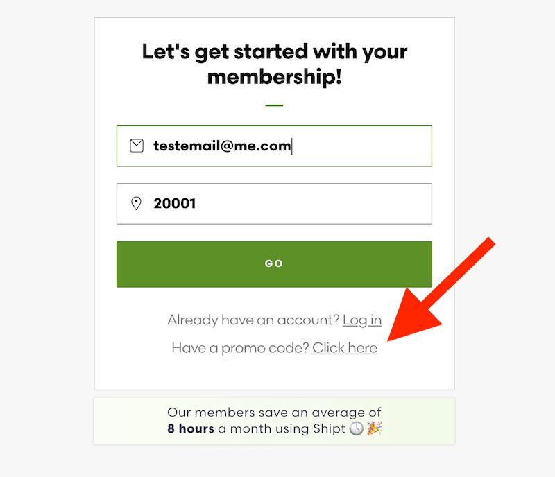 Código promocional del envío: la página de registro de la cuenta de la aplicación