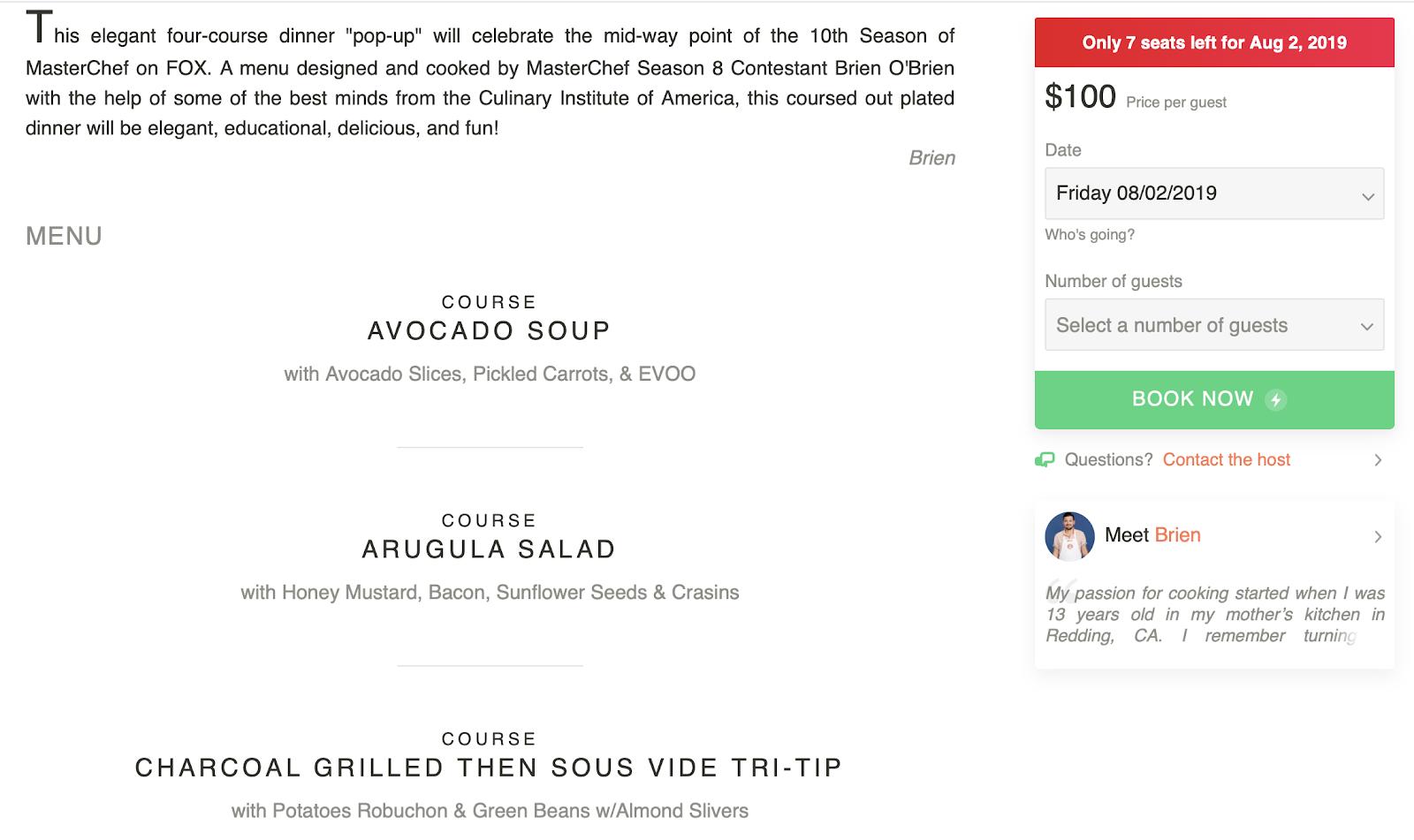 Eatwith: un menú para un evento en la aplicación