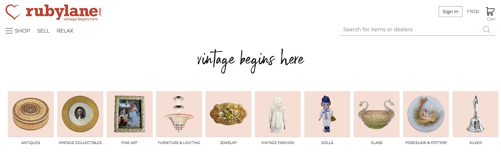 Sitio de venta vintage en línea de Rubylane
