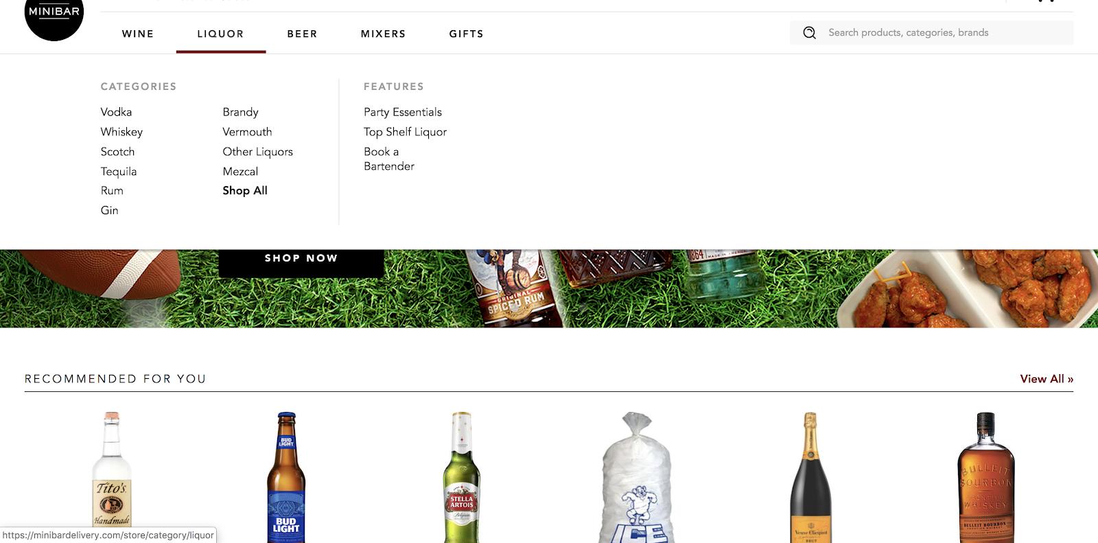 El menú desplegable para comprar en el sitio web del Minibar