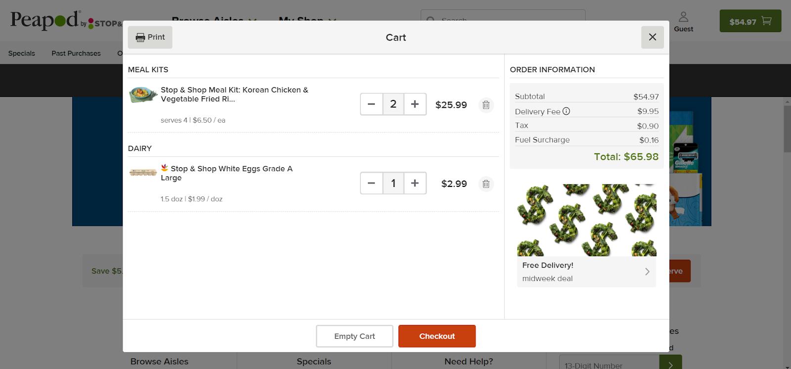 La página web del carrito de compras donde introducirá sus cupones de Peapod