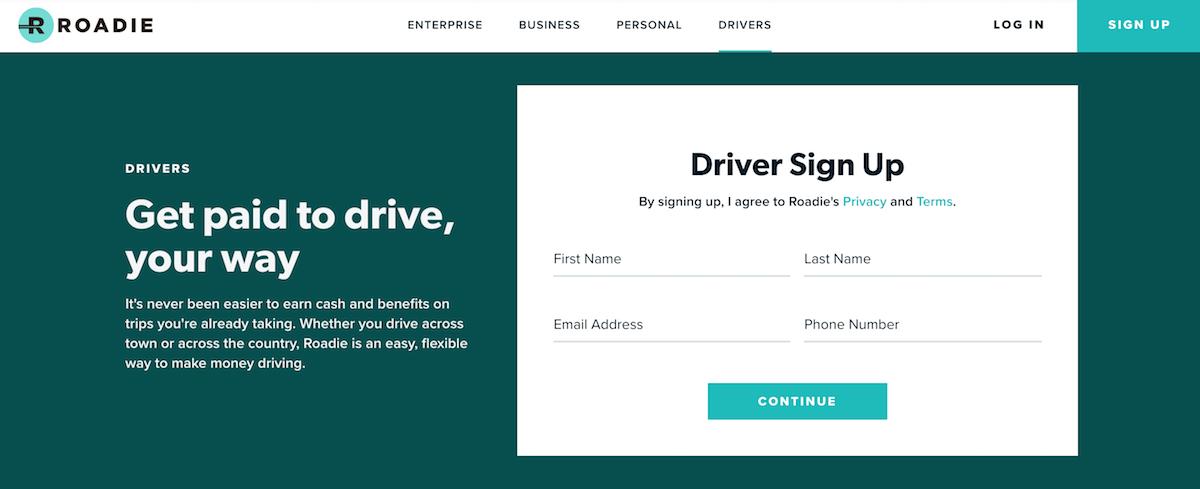 La página web de Roadie para inscribirse para conducir