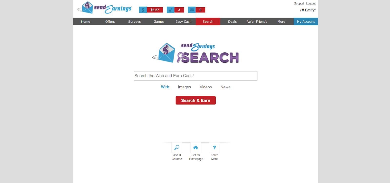 Captura de pantalla de la página de búsqueda SendEarnings