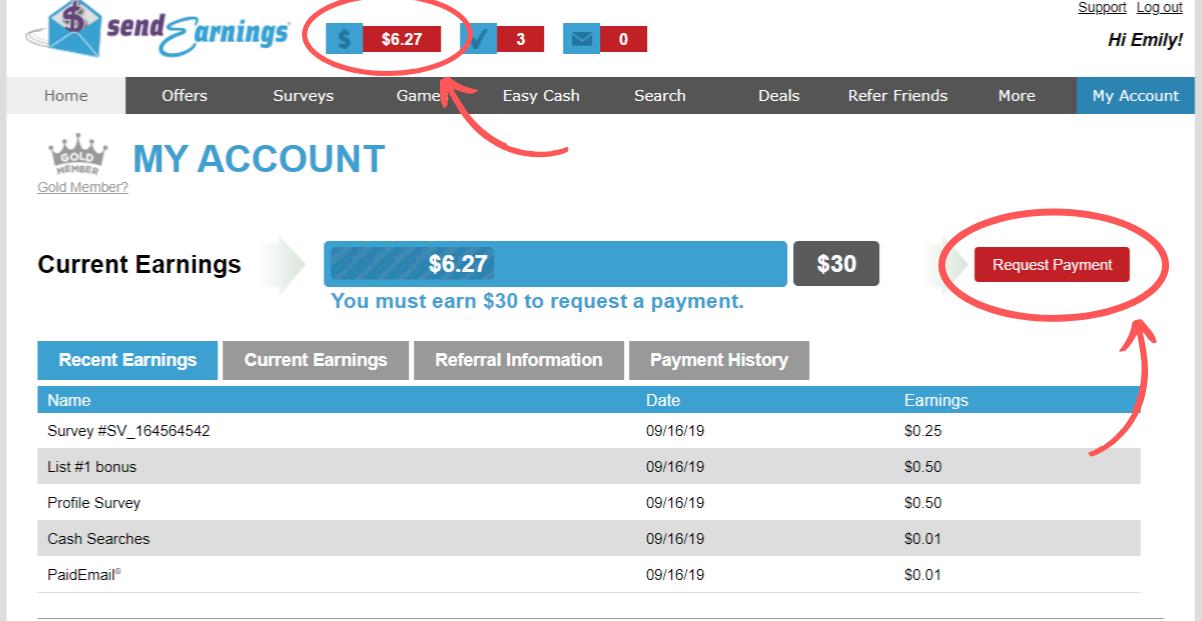 Página de pago de SendEarnings