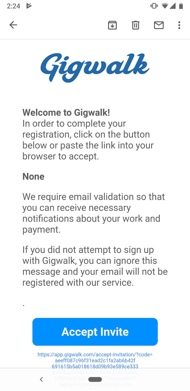 La página de validación de correo electrónico en la aplicación Gigwalk