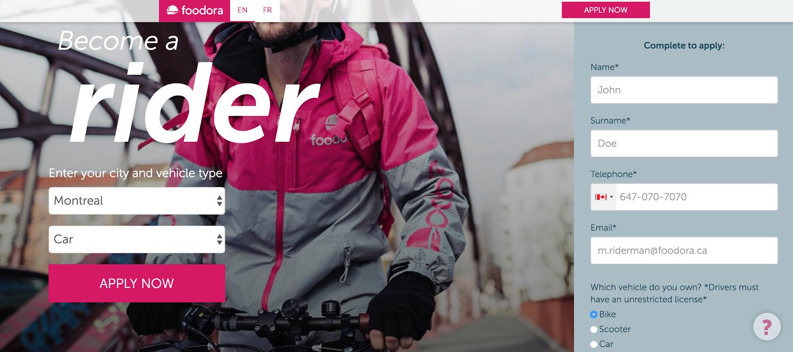 La página de aplicación fácil de Foodora para convertirse en un mensajero