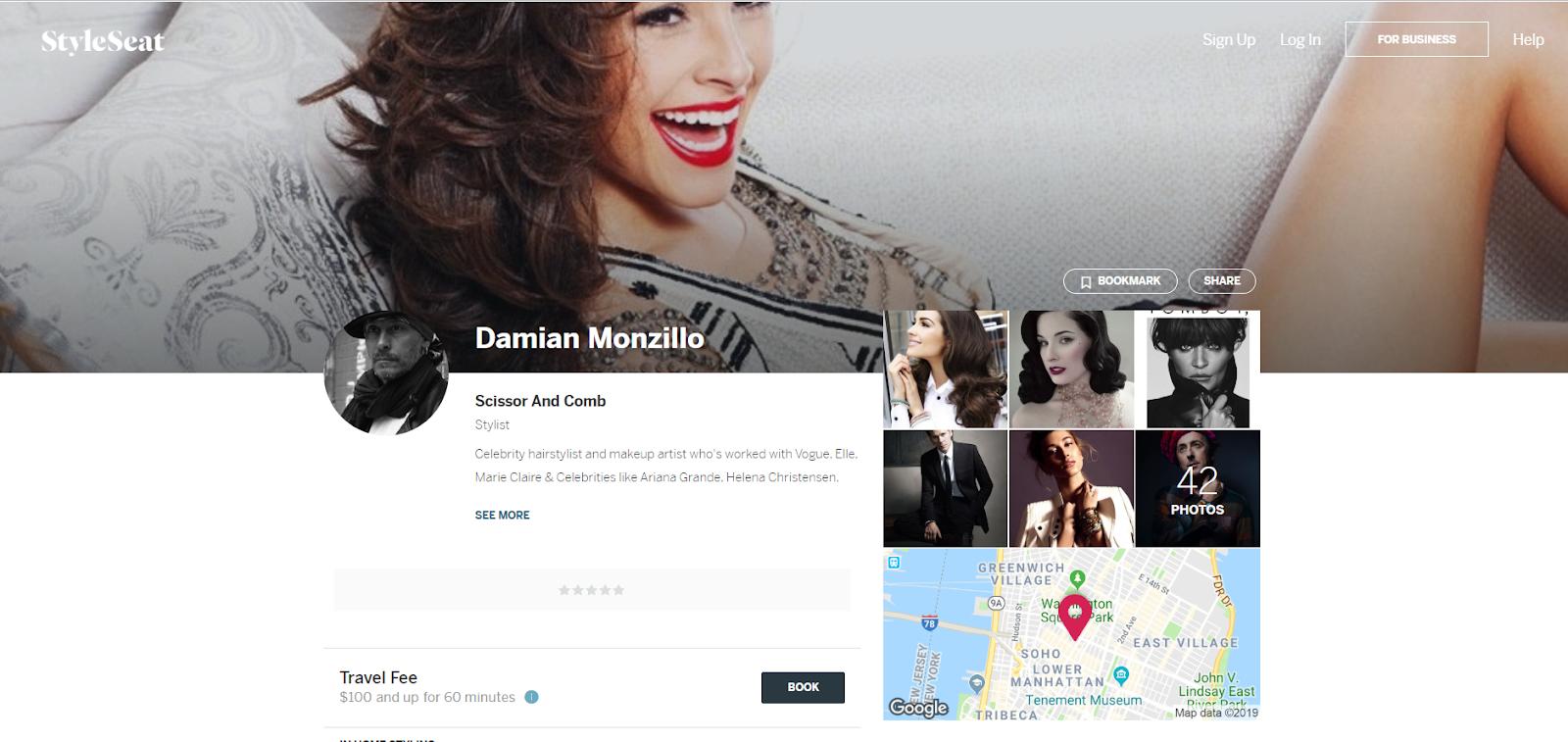 Página de perfil de un estilista StyleSeat