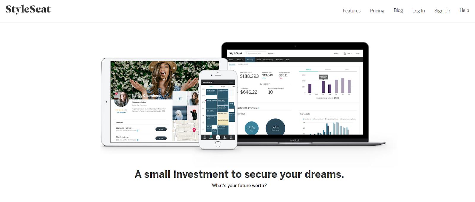 La página web para configurar su cuenta de StyleSeat