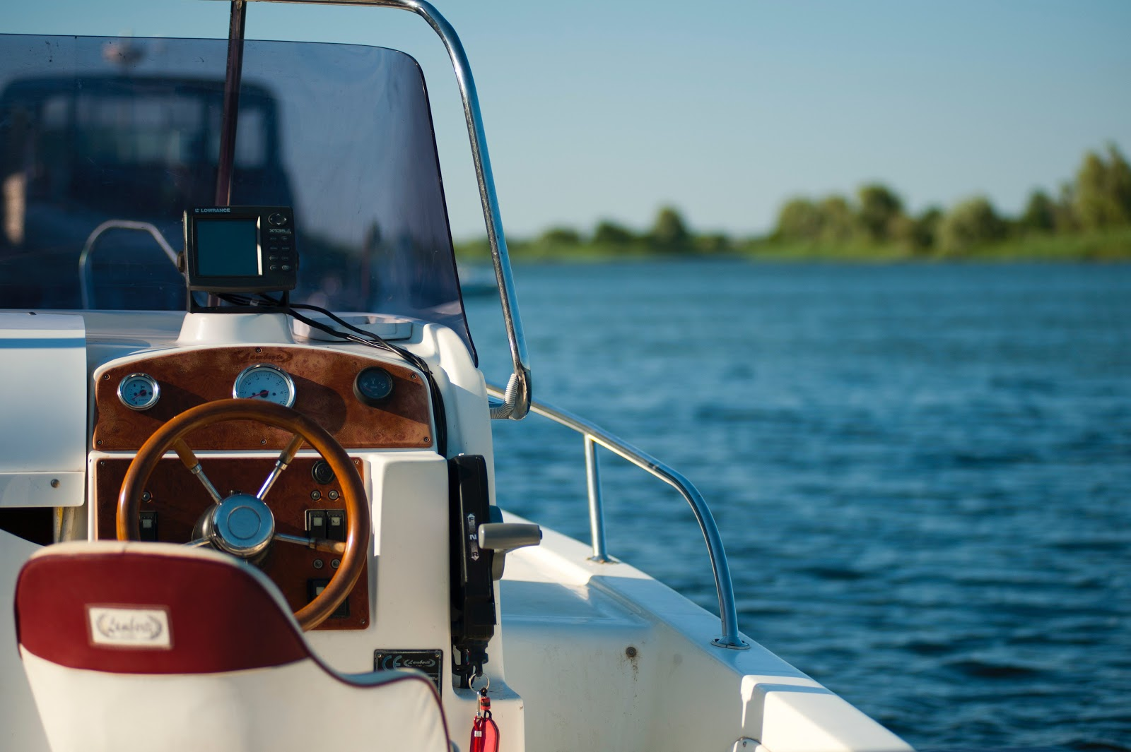 View from driver's seat of a boat