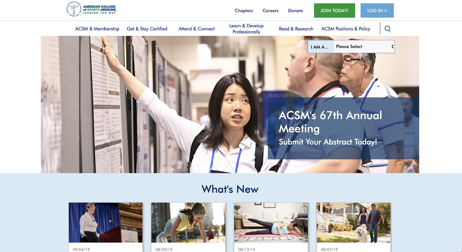 Captura de pantalla del sitio web del American College of Sports Medicine