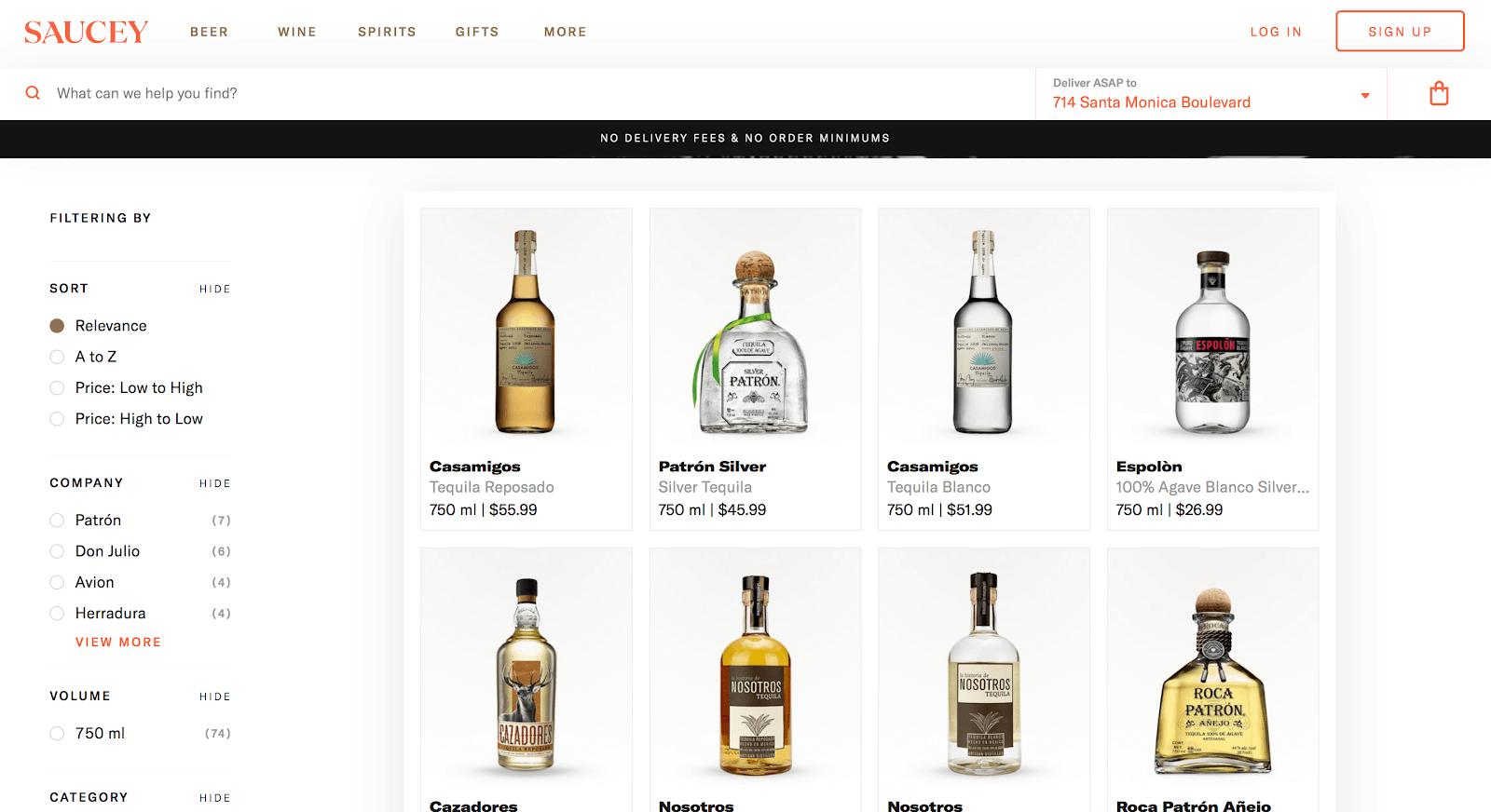 Botellas que los compradores pueden pedir