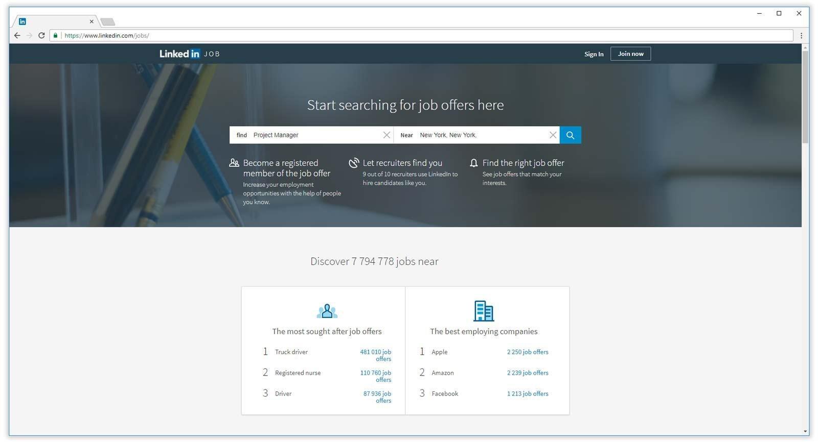 página de inicio de trabajos de linkedin