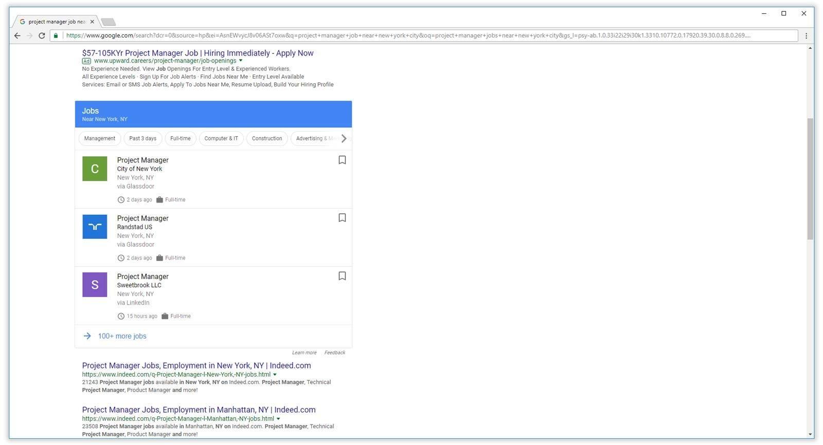 google para trabajos que se muestran en los resultados de búsqueda