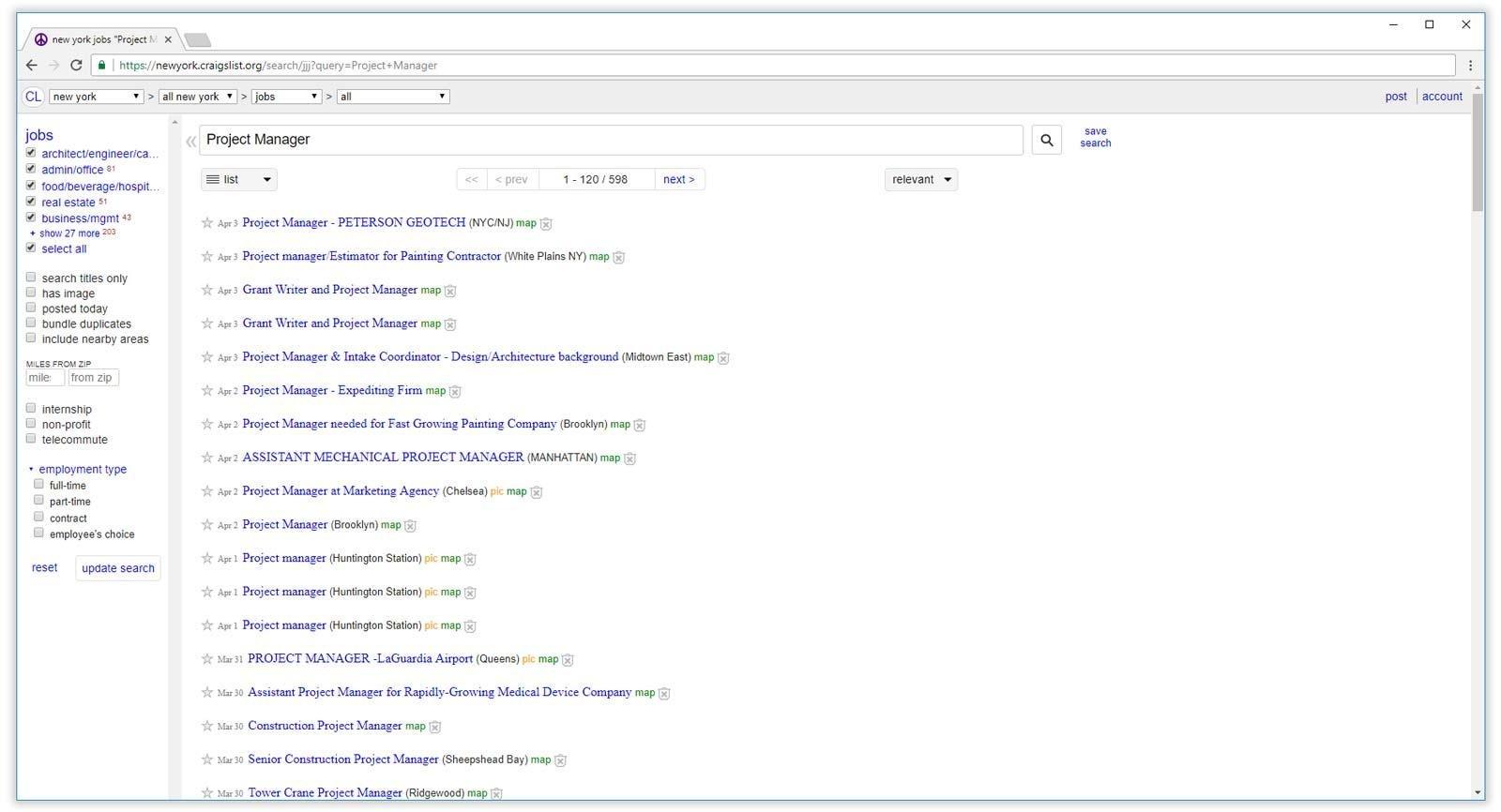 resultados de la búsqueda de empleo de craigslist
