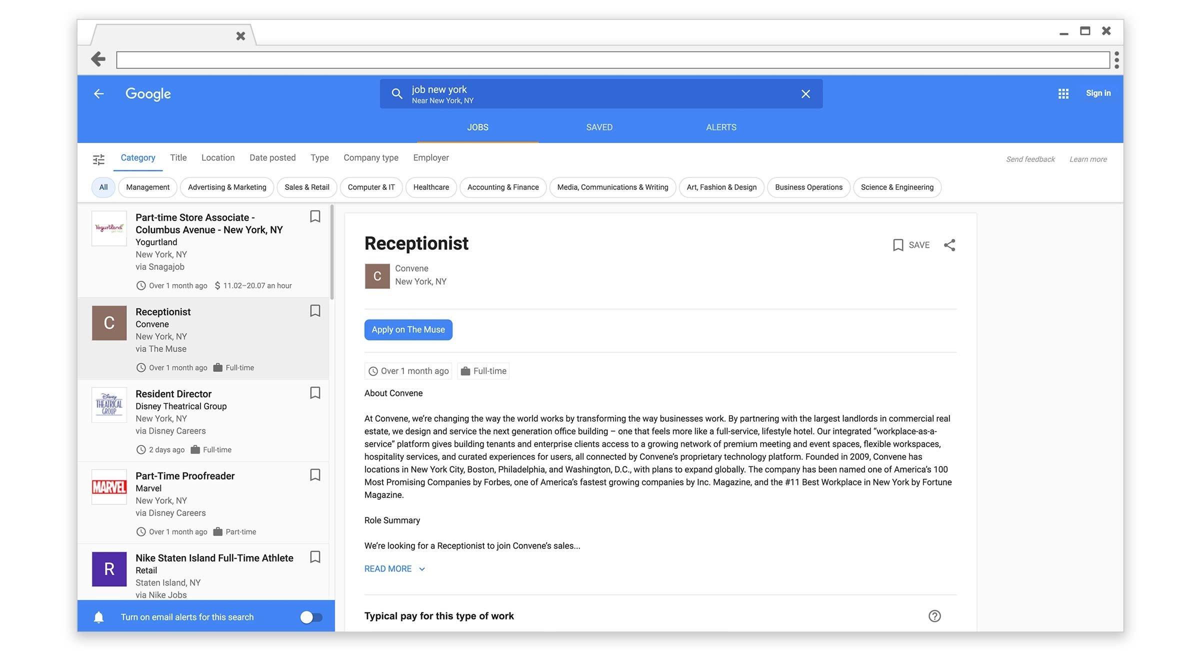 panel de control de google for jobs