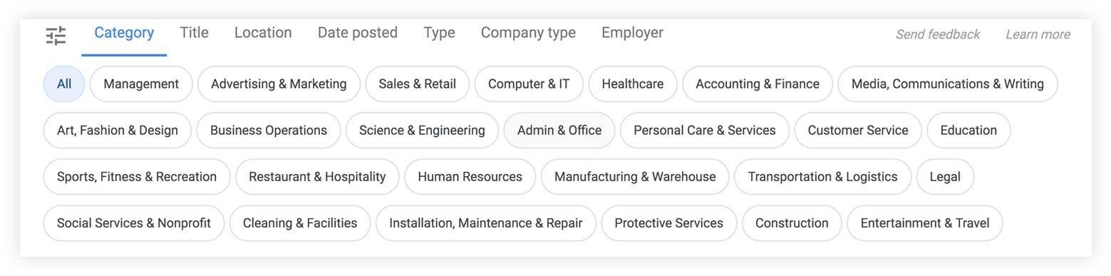 etiquetas de google para trabajos