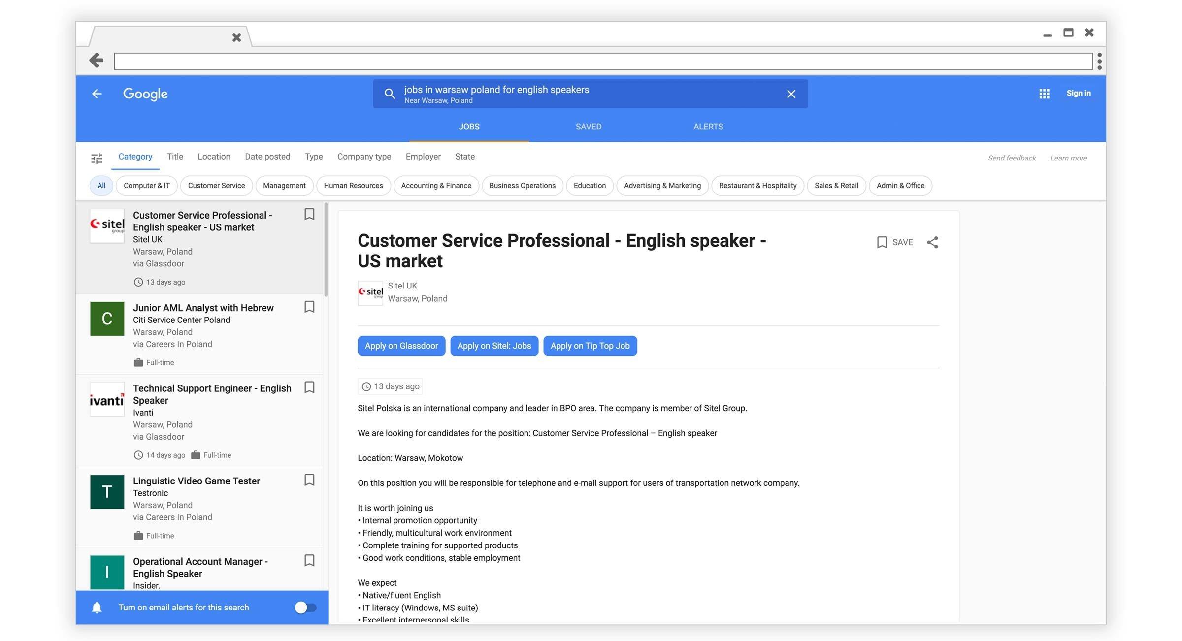 google para trabajos en varsovia