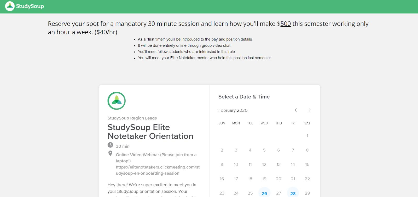 Captura de pantalla de la reserva de StudySoup