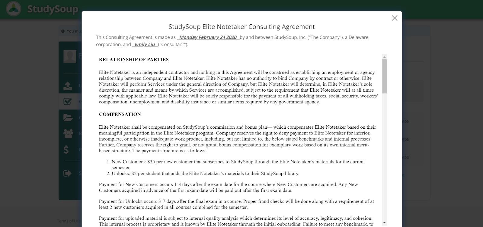 Acuerdo de consultoría StudySoup
