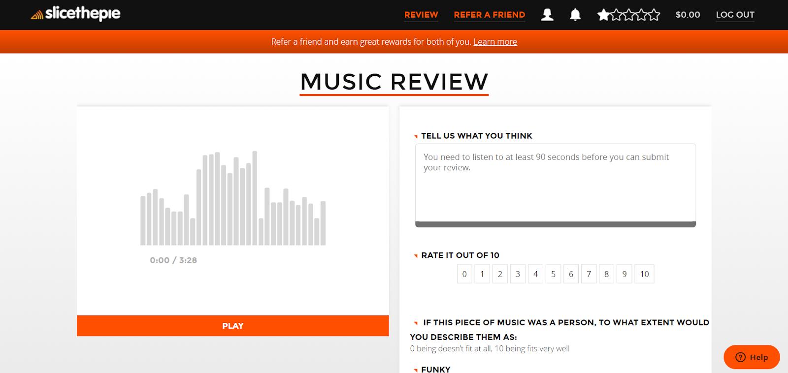Página de revisión de música de Slicethepie
