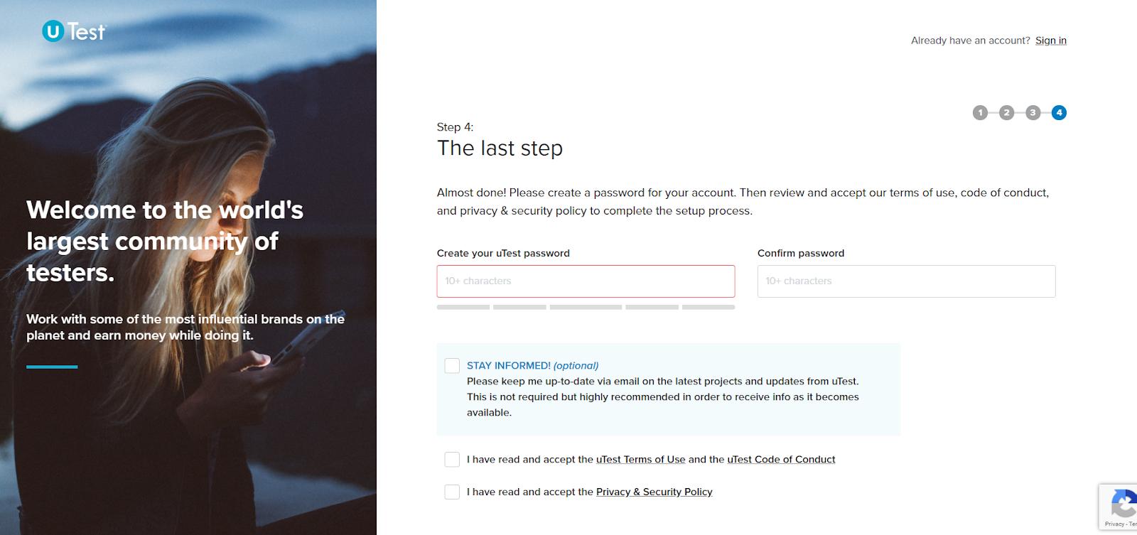 El formulario web de uTest con el último paso para darte de alta como autónomo