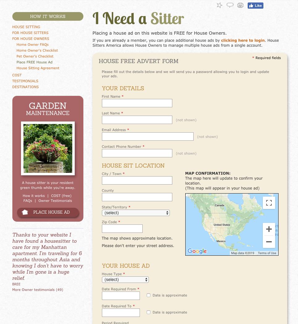 Captura de pantalla de la página de registro de House Sitters America para propietarios de viviendas