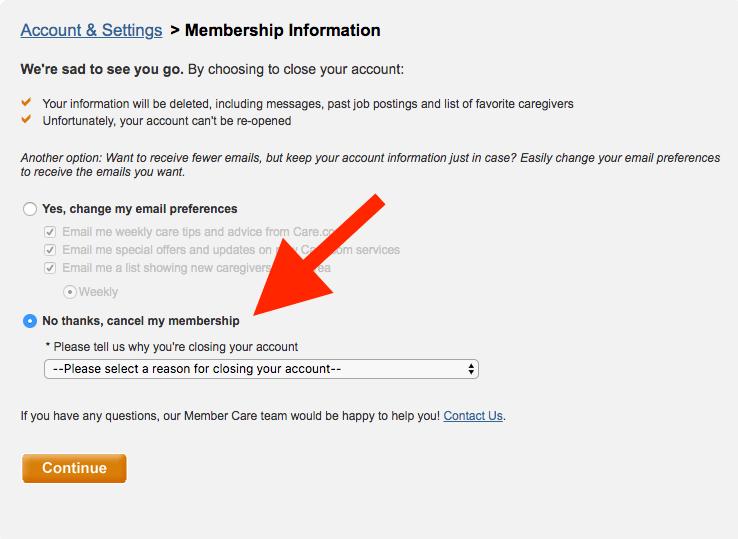 Cómo eliminar la cuenta de Care.com: Flecha que apunta para cancelar mi membresía