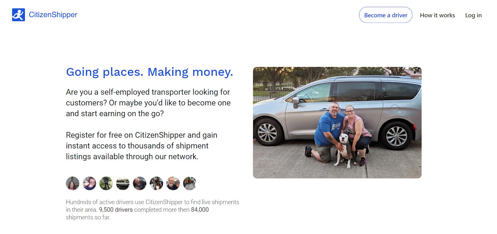 La página web de información del conductor de CitizenShipper