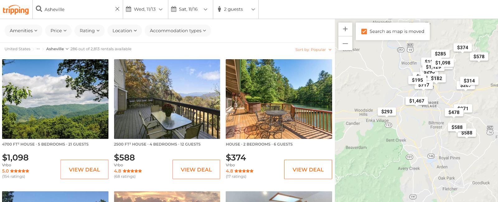 Selecciones de propiedades de Tripping.com