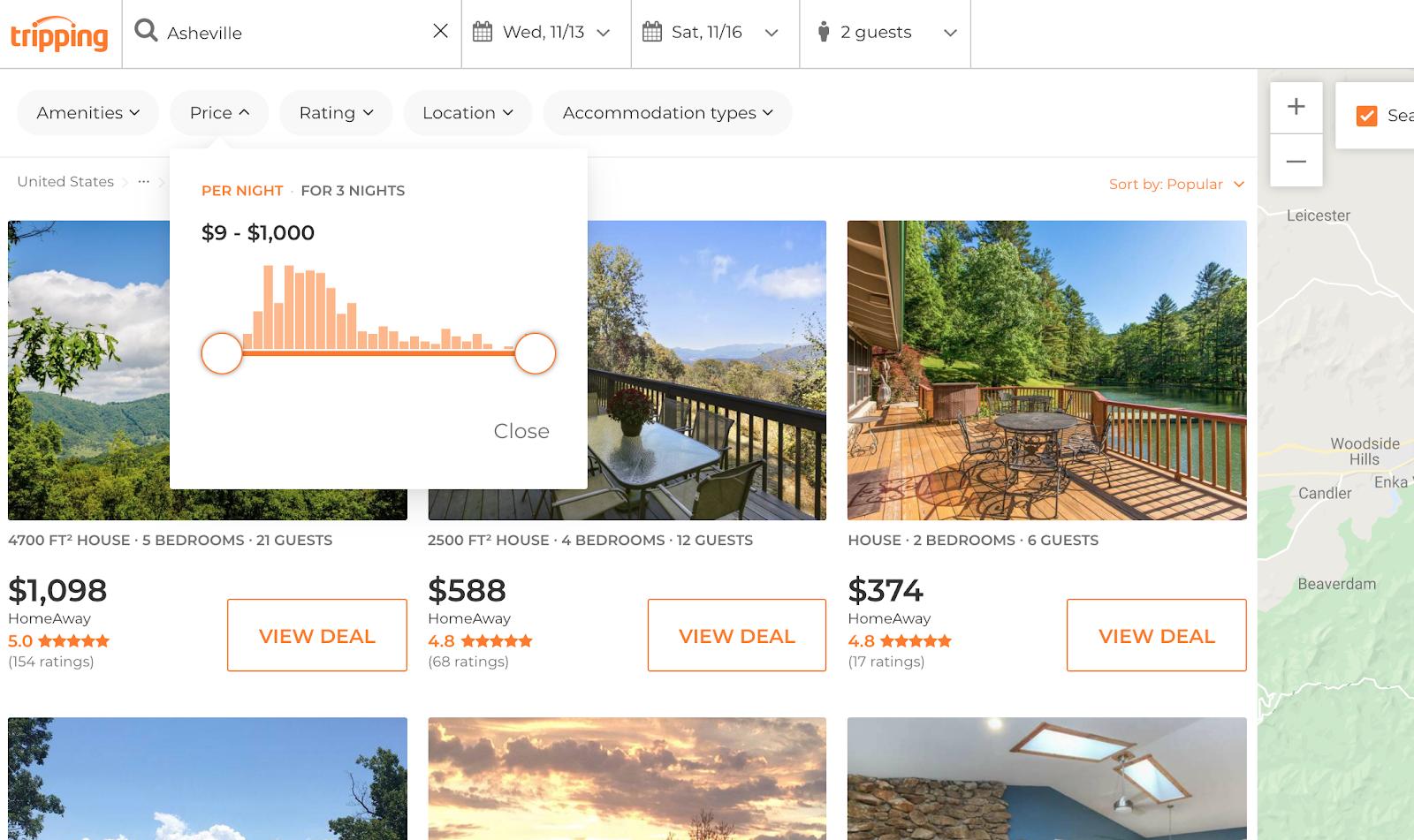 página web que muestra los rangos de precios de las propiedades