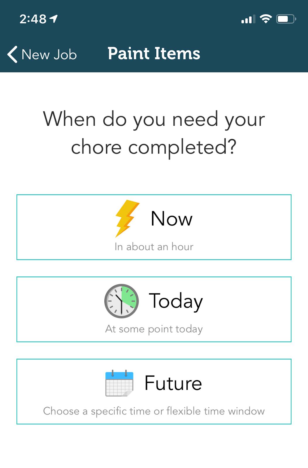Aplicación Takl: el menú para elegir el marco de tiempo para su tarea