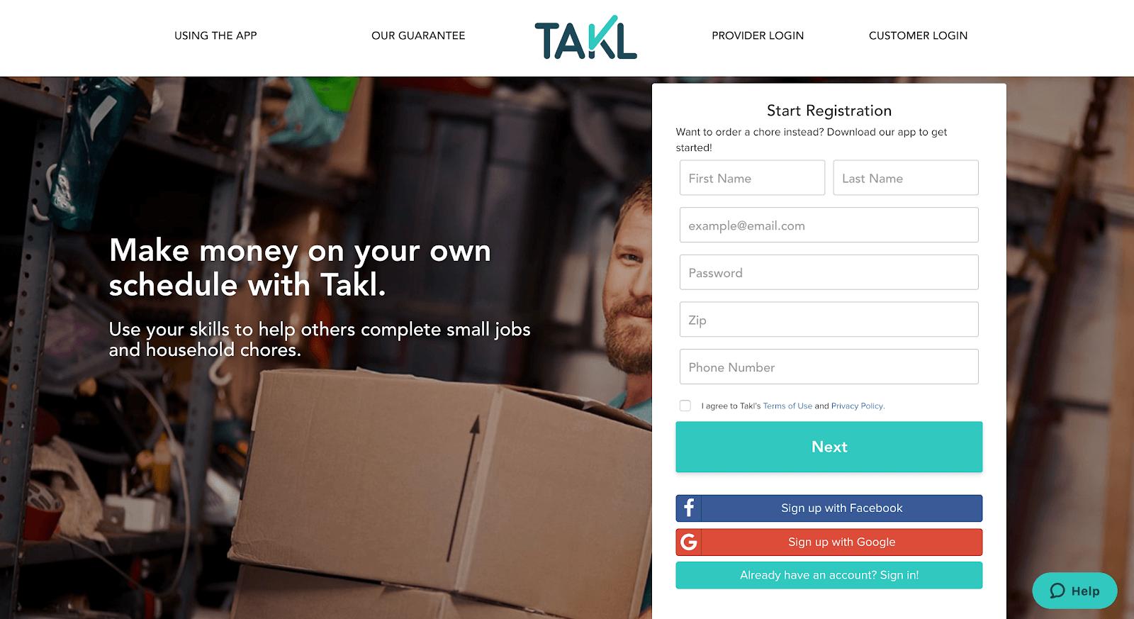 Takl jobs: la página web de Takl para registrarse y convertirse en proveedor de servicios