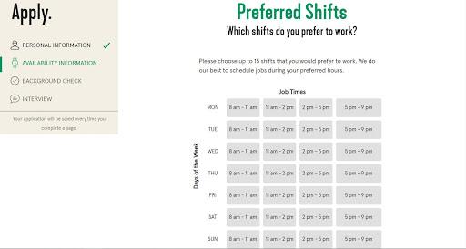 Elección de preferencias de turno en la aplicación Bellhops.