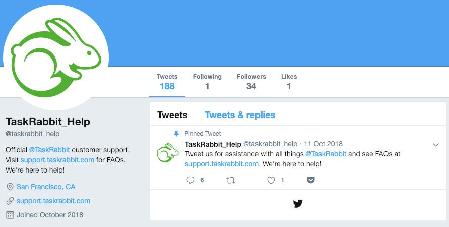 Captura de pantalla de la cuenta de Twitter de Task Rabbit