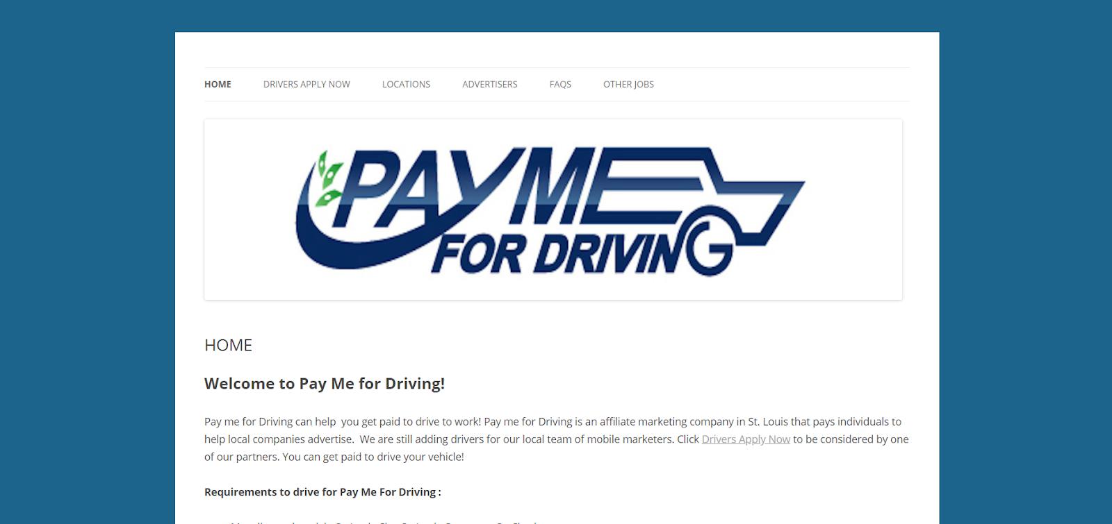 Página de inicio de Pay Me for Driving