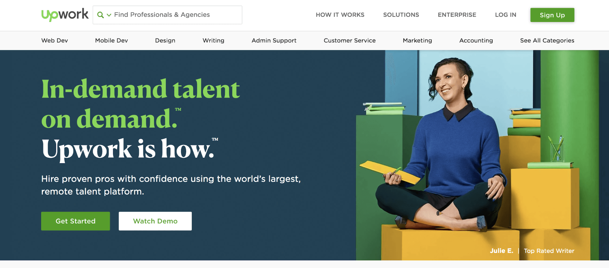 marketing independiente: sitio web Upwork