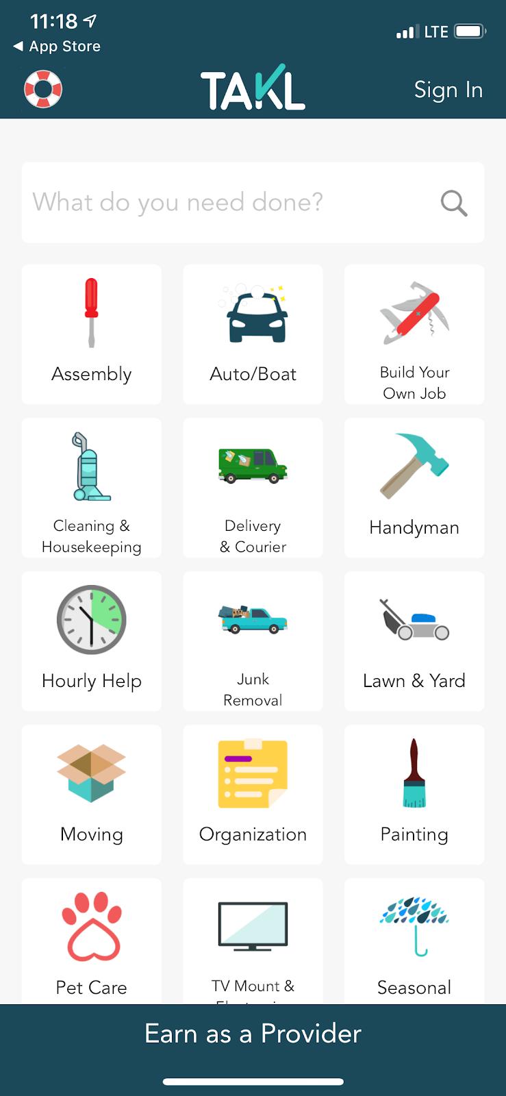 Aplicación Takl: el menú de tareas en Takl