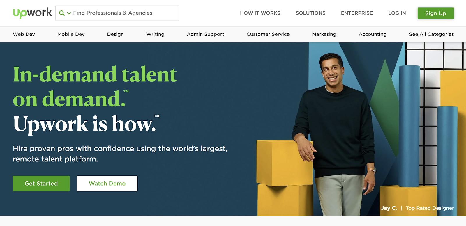 trabajos upwork: página de inicio upwork