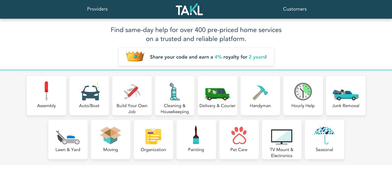 Takl jobs: la página de inicio de Takl