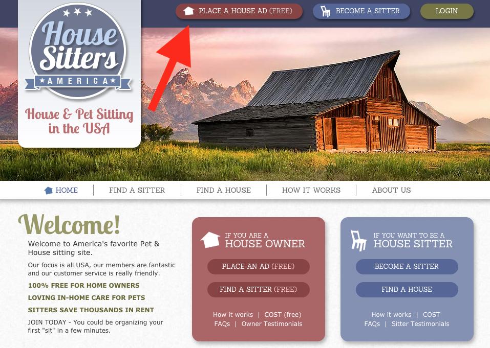 Captura de pantalla de la página de inicio de House Sitters America